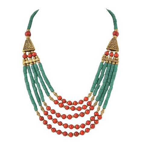 Handcrafted Beaded Jewellery - handmade beaded multi strand necklace for lalgate