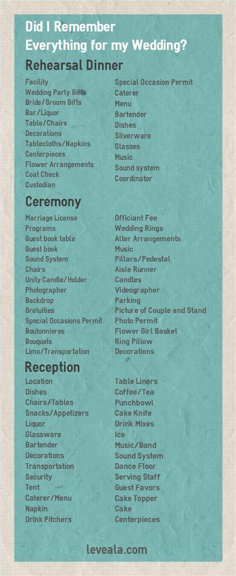 Wedding Checklist Everything You Need wedding planner wedding rehearsal checklist