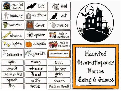 haunted house song classroom freebies haunted onomatopoeia house song and games for halloween