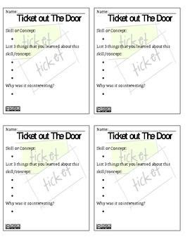 Ticket Out The Door Template by 654 Best Teaching Activities Images On