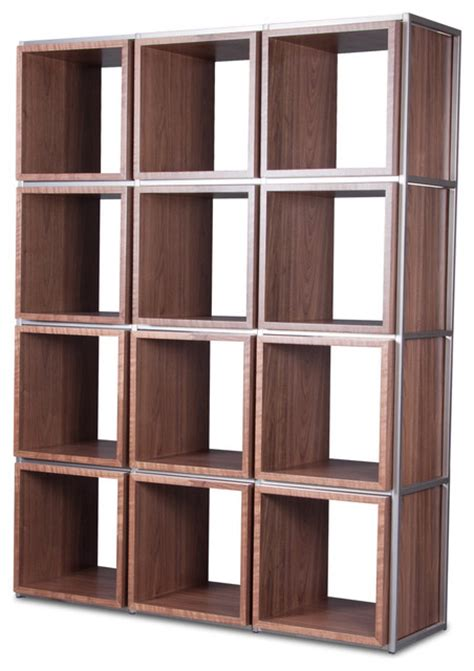 grid i walnut shelving unit modern display and wall