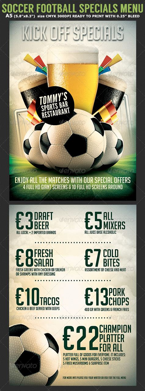 bar flyer templates free soccer football bar flyer menu template by hotpin