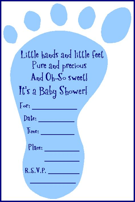 baby shower free invitations free adorable baby shower footprint invitation