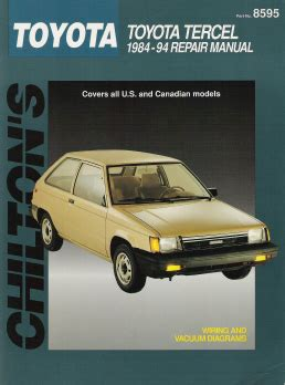 auto repair manual online 1994 toyota tercel security system 1984 1994 toyota tercel chilton s total car care manual