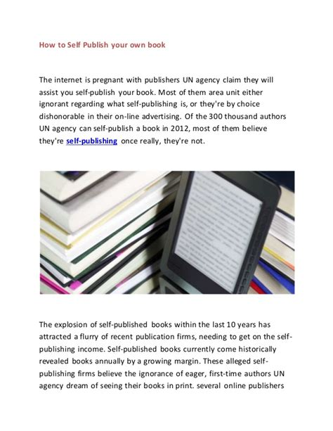 How To Self Publish Your Own Book How To Self Publish On Using A Book Template