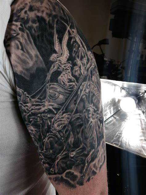 four arm tattoo gustave dore four horsemen sleeve black and gray