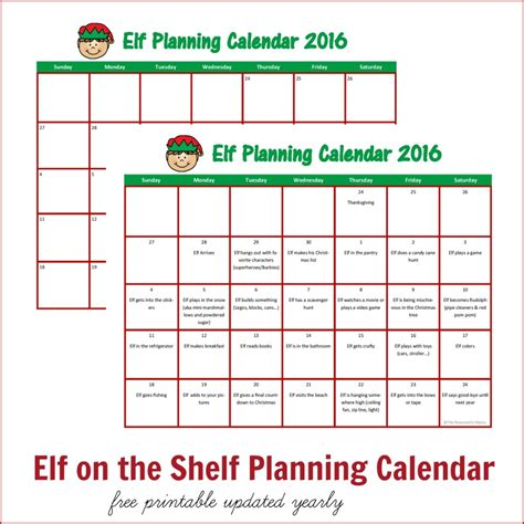 printable elf on the shelf planner elf on the shelf planning calendar the resourceful mama