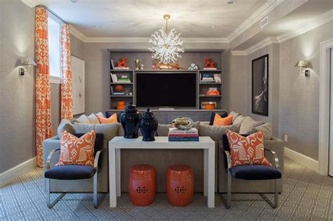 Sous Sol Enterré by Navy And Orange Basement Family Rooms Contemporary