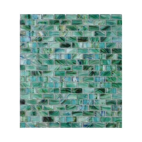 shop american olean visionaire peaceful sea brick mosaic glass wall tile common 13 in x 13 in