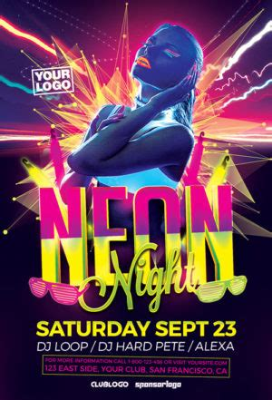 Party And Club Psd Flyer Templates For Photoshop Awesomeflyer Neon Flyer Template Free