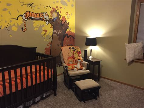 makes a calvin and hobbes themed nursery with painted