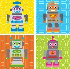 kinderzimmer deko roboter set of 4 prints nursery for children wall