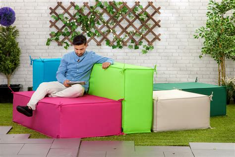 lime large waterproof garden soft foam sofa seating block