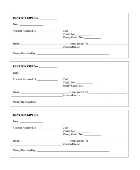 tenant receipt template sle rent receipt form 10 free documents in pdf