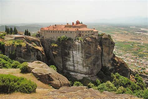 meteora cliffs monastery  greece  beautiful houses