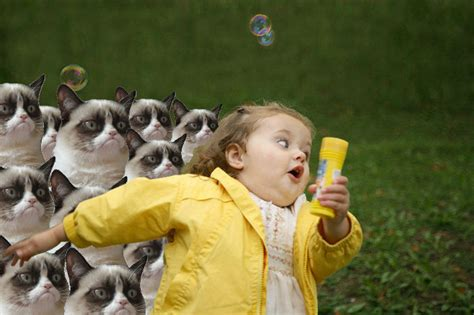 Bubbles Girl Meme - grumpy cat revenge chubby bubbles girl know your meme