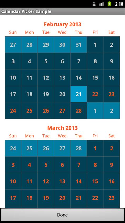 calendar for android dive in android timessquare calendar view for android