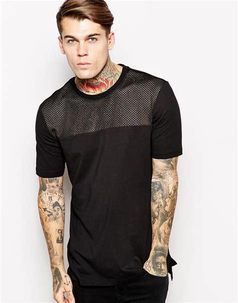 Original Hm Tshirt asos longline t shirt with mesh panel and stepped hem skater fit in black for lyst