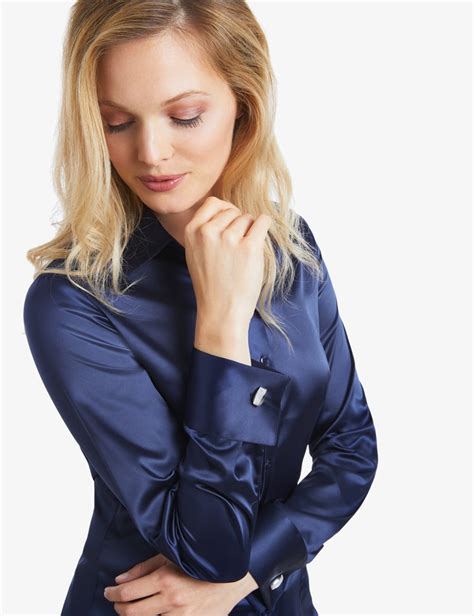 Grateful Blouse Ladsey Navy s navy fitted satin shirt cuff hawes curtis