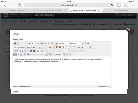 El 20282 B 04 N n puedo configurar el formulario de contacto en ingl 233 s y