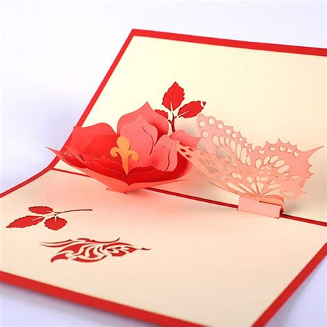 Origami Flower Pop Up Card - find more paper crafts information about 10pcs diy 3d