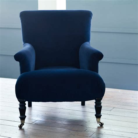blue armchair finley velvet armchair midnight blue by rowen wren notonthehighstreet com