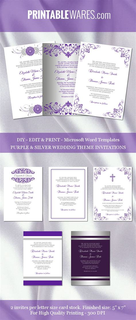 purple and silver reserved cards template 25 best ideas about invitation templates on