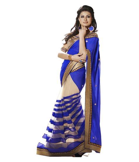 Orderan A N Sari surat fancy saree blue faux georgette saree buy surat fancy saree blue faux georgette saree