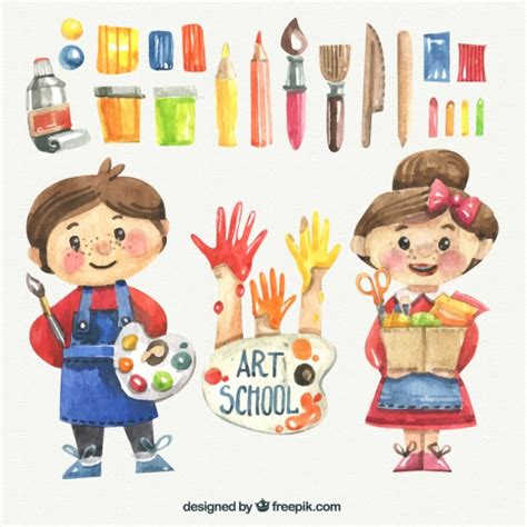 painting child watercolor with school materials vector free