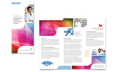 pharmacy school tri fold brochure template design