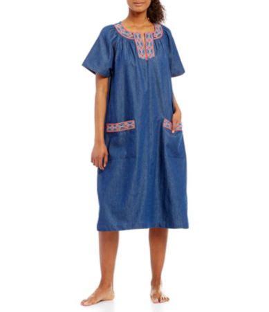 go softly cross stitched denim patio dress dillards