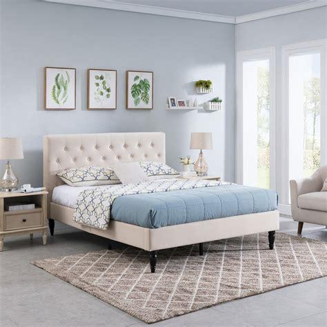 agnes fully upholstered queen size platform bed frame
