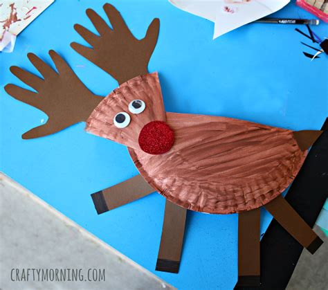 reindeer paper craft paper plate reindeer craft for crafty morning