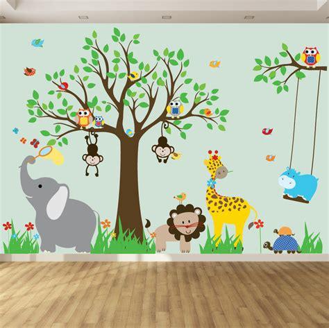 vinyl wall decal childrens wall decal jungle safari tree