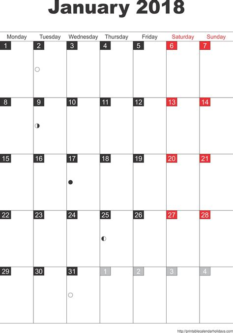 Free 2018 January Printable Calendar 2018 Pdf Printable Templates Letter Calendar Word Excel Writable Calendar Template