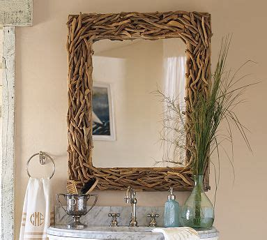 driftwood bathroom mirror pottery barn driftwood mirror look 4 less