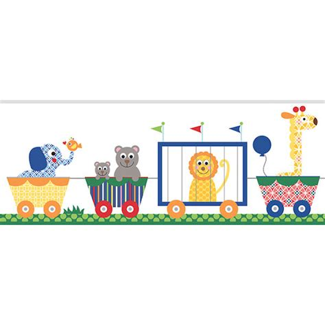 Sesame Street Wall Stickers circus train primary prepasted wall border