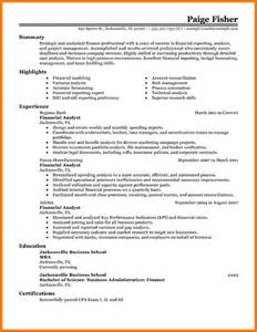 Financial Analyst Resume Exles by 11 Financial Analyst Resume Exle Financial Statement Form