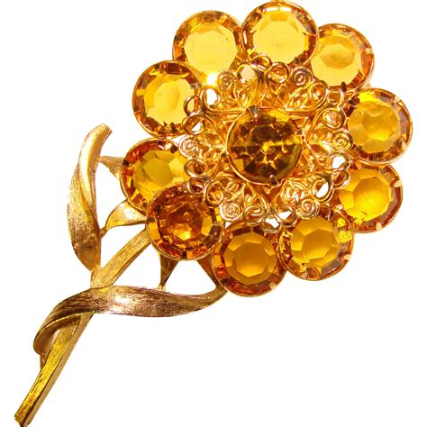 Amstrong Flower Behel Set3 gorgeous bezel edge set stones flower design brooch from jewelpigs on ruby