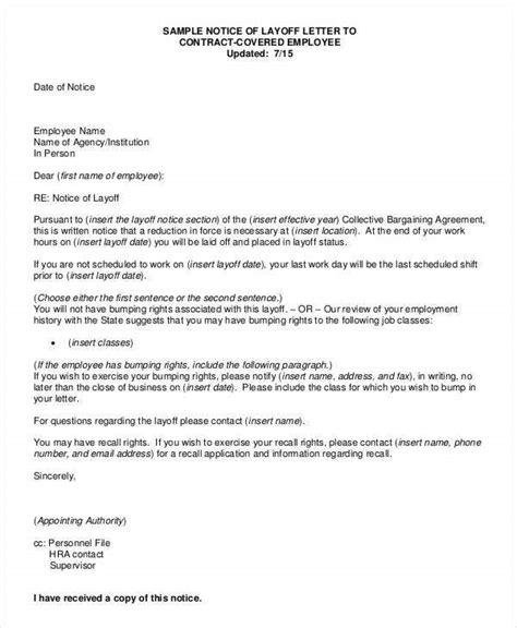 letter employee layoff layoff letter