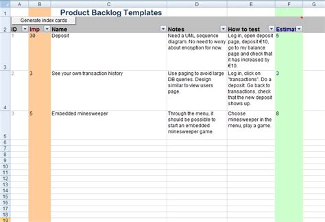 Get Product Backlog Template Projectemplates Simple Product Backlog Template Xls