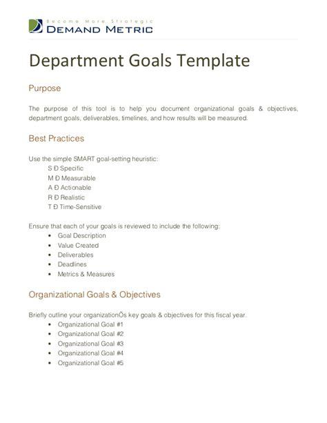 Department Template department goals template