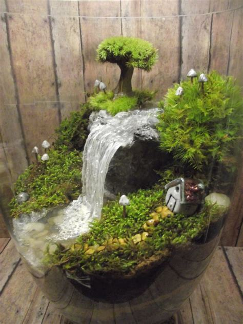 amazing huge waterfall terrarium  raku fired miniature