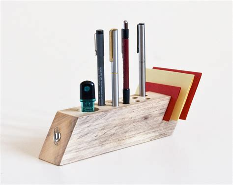 Desk Organizer Salvaged Wood Pen Holder Modern Office Office Desk Pen Holder