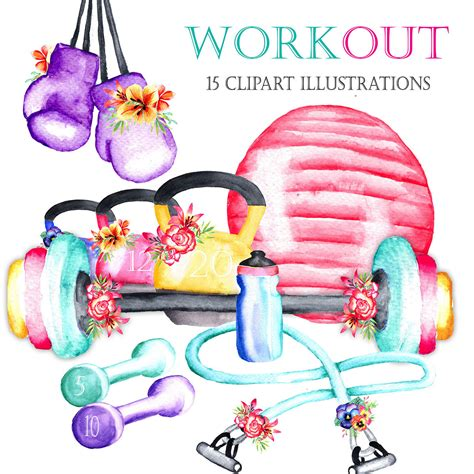 fitness clipart watercolor workout clipart healthy clipart fitness