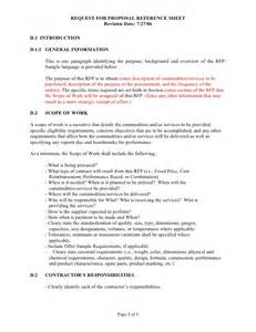 technical scope document template sle rfp reference sheet and scope of work template