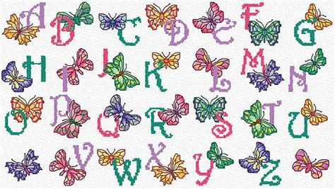 printable letters with butterflies item butterfly alphabet cross stitch chart pictures