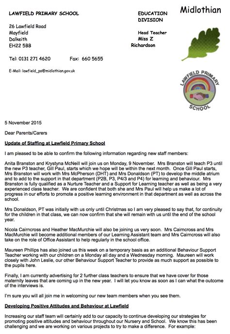 Parent Update Letter Lawfield Primary School Staffing Update