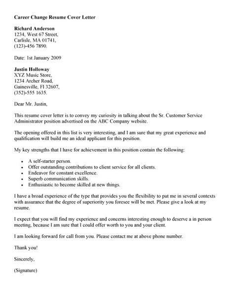 Cover Letter Exles For Career Change by Free Career Change Cover Letter Recentresumes