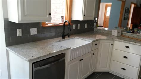 Gray Kitchen Cabinets by Colonial White Granite Countertops Charlotte Nc